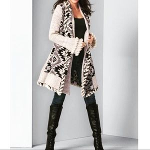 VENUS plus size faux fur trim boho cardigan duster